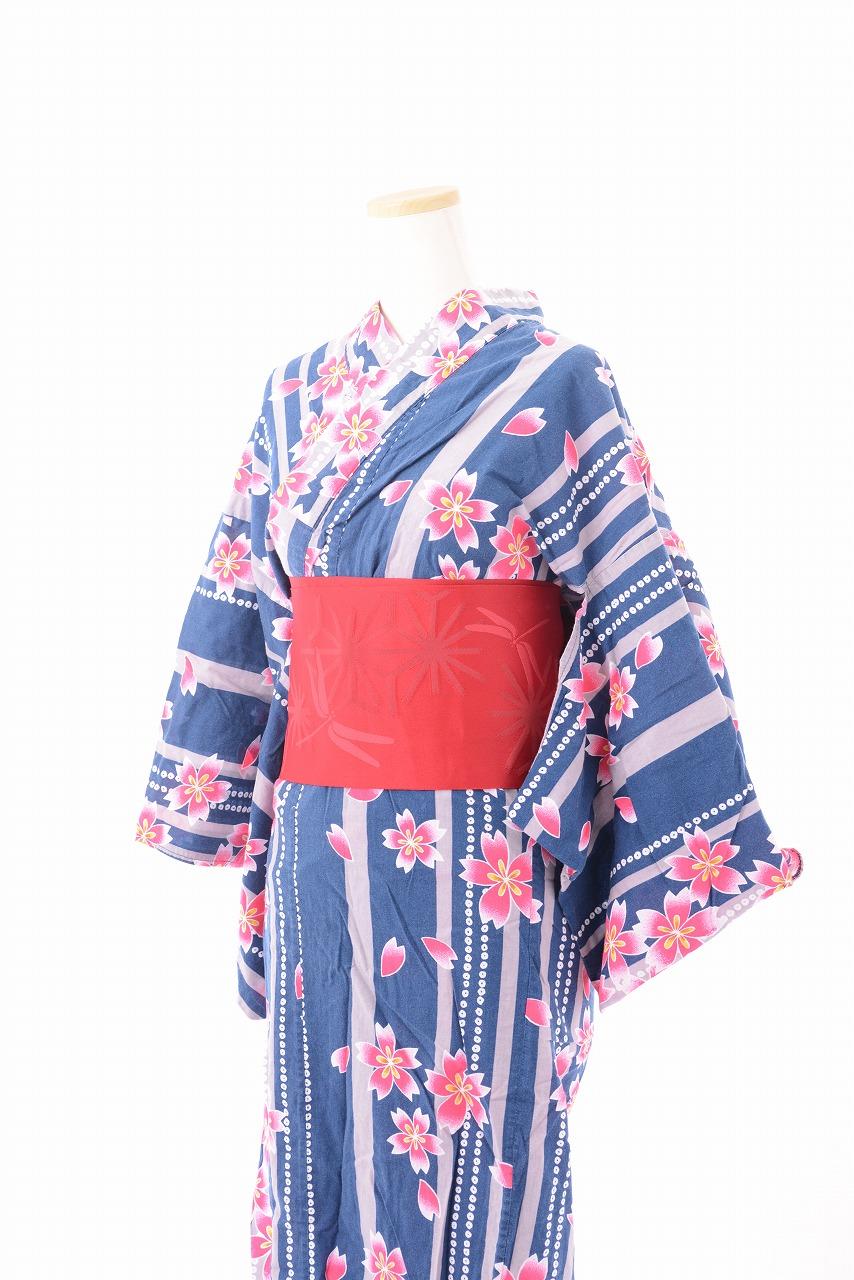 【レンタル期間:単日OK】品番:浴衣:青地桜柄★繁忙期(6月1日〜9月30日)は割増価格になります