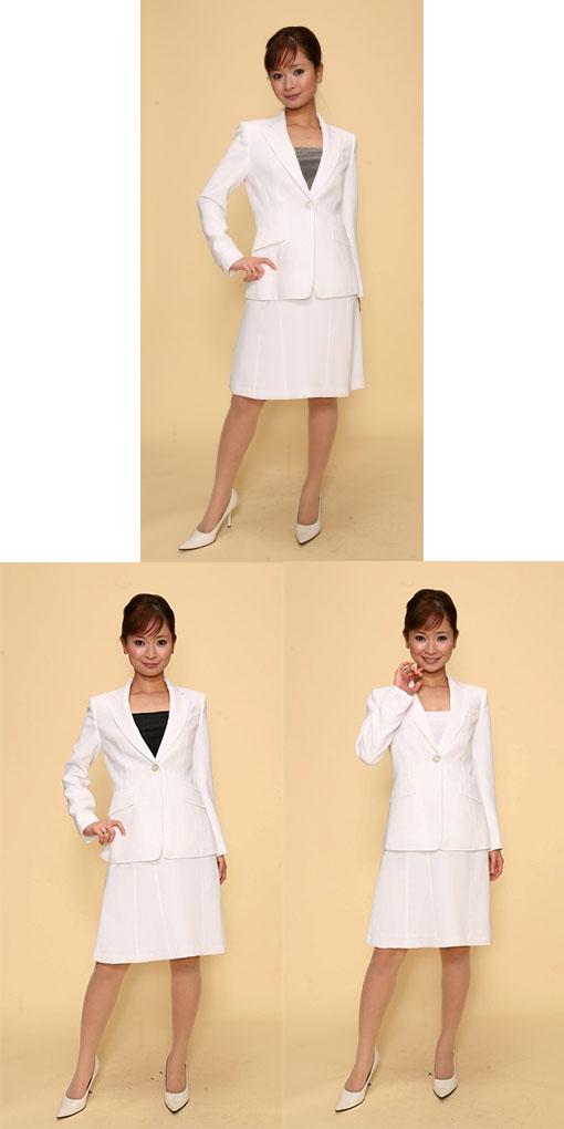 【3日以上】スカートスーツ:白×モノトーン