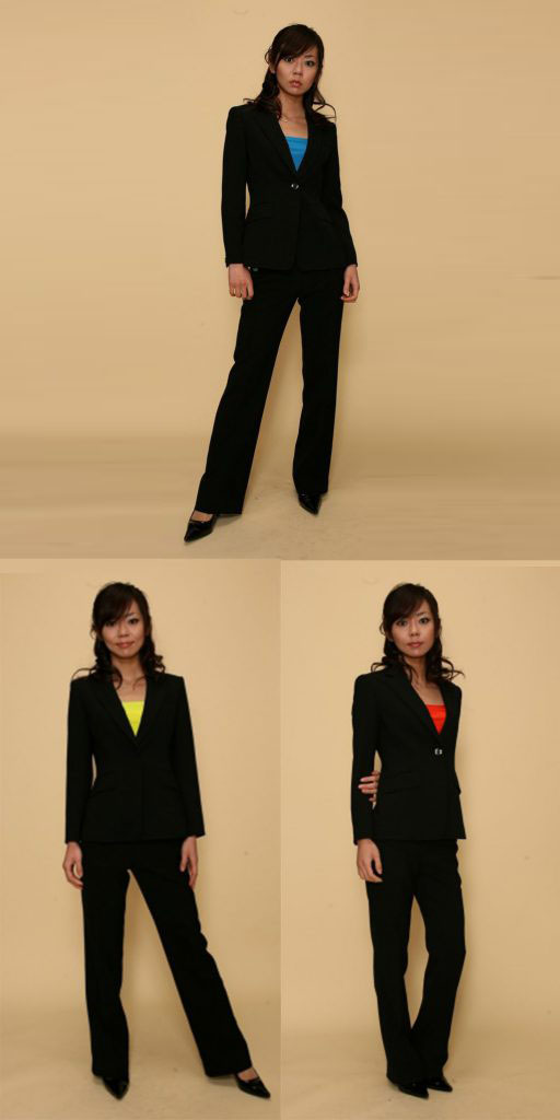 【3日以上】パンツスーツ:黒×カラー