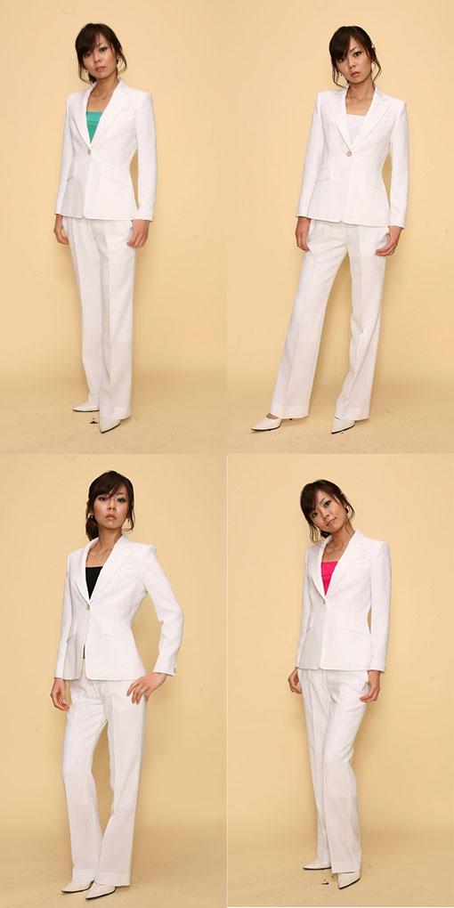 【3日以上】パンツスーツ:白