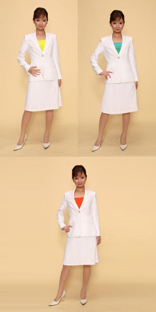 【3日以上】スカートスーツ:白×カラー